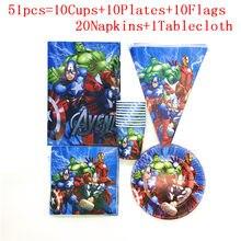 Superhero Thema Cartoon Party Set Tassen Geschirr Platten Flagge Servietten Banner Geburtstag Tischdecke Dusche Party Dekoration Lieferungen