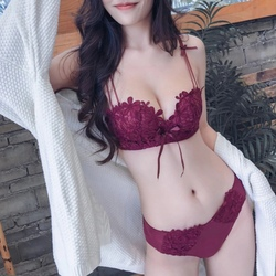 Women Sexy Lace Jacquard Bra Set No Steel Ring Wire Free Bra Embroidery Flower Bow Lovely Bra Briefs Set Push Up Bras Sets