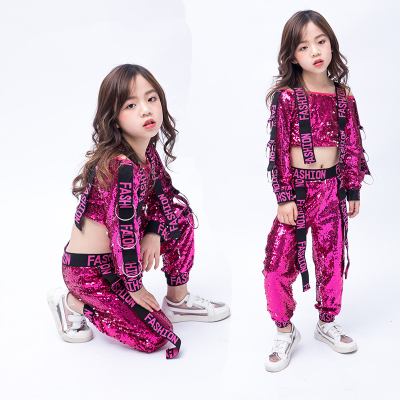 Girls Jazz Dance Costumes Children's Costumes Girls Dance Dress Sequins Street Dance Performance Clothing Free Shipping Fashion