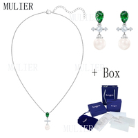 MULIER SWA Perfection series exquisite elegant green water drop design necklace earring set 5493103 lady promote charm preferred