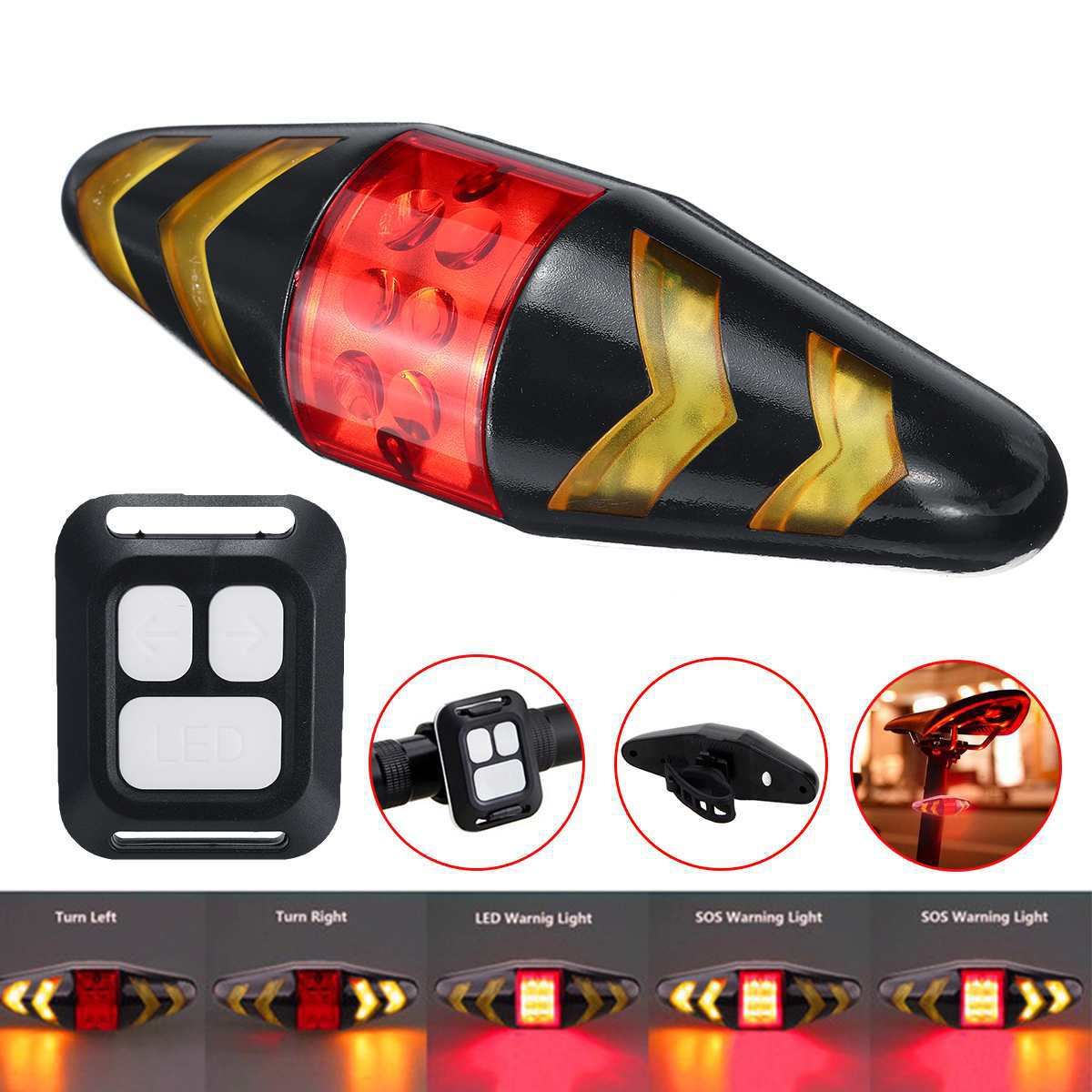 Bicycle Rear Light Wireless Remote Control Rechargeable LED Bike Rear Light Bicycle Turn Signal Taillight Cycling Accessories