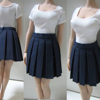 1/6 Female White Short sleeved Student Shirt Skirt With Tight Pleats That Cover The Sets Fit 12'