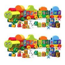 50/75 pçs tamanho grande cidade trem grandes partículas duploed blocos de construção tijolos diy brinquedos educativos do bebê para crianças presentes