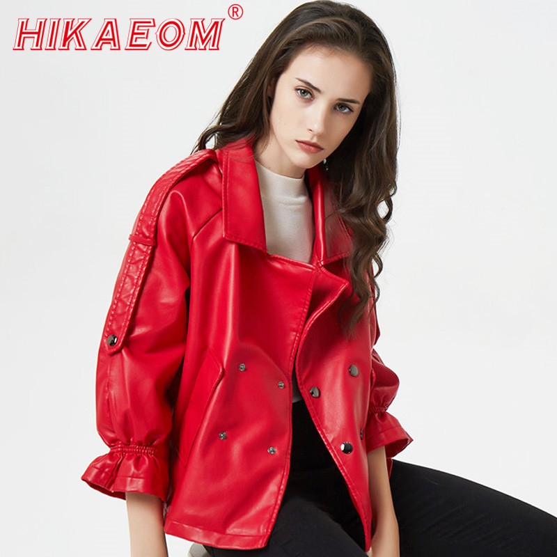 Autumn Women New   Leather   Motorcycle Coats Trumpet Sleeves Pu   Leather   Women Regular Faux   Leather   Biker Jacket Soft Jackets Female