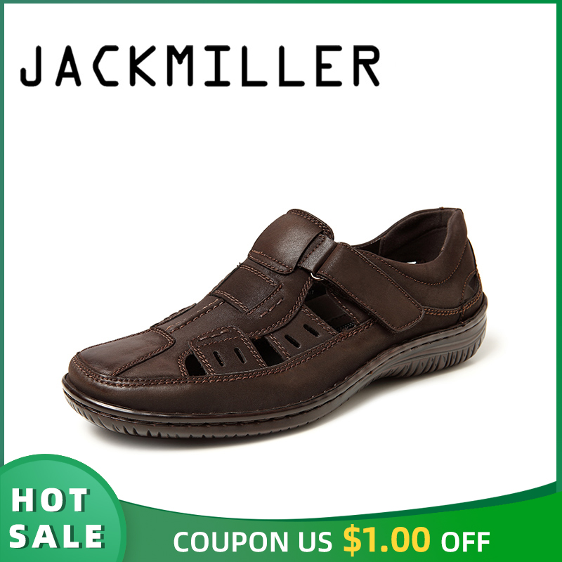 Jackmiller Men Sandals Top-Brand Summer Flats Comfortable Slip-On Casual Brown Light
