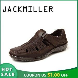 Image 1 - Jackmiller men sandals summer breathable comfortable super Light casual brown mark line sandal men shoes hook & loop slip on