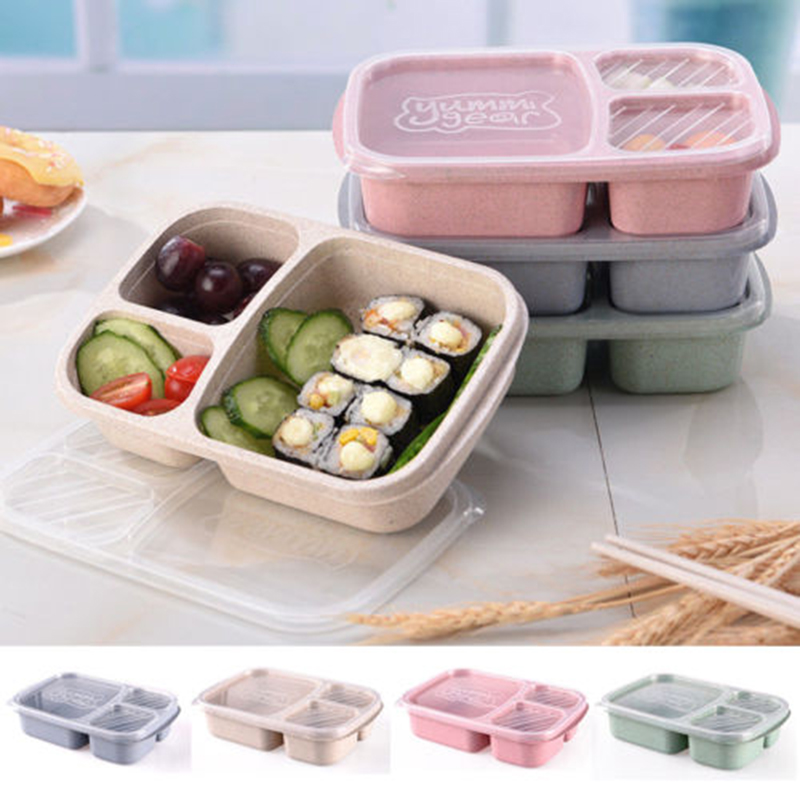 Lunch Box 4 Color Environmentally Friendly Wheat Fiber Rectangular Single Layer Partition Bento Box Containers For Food
