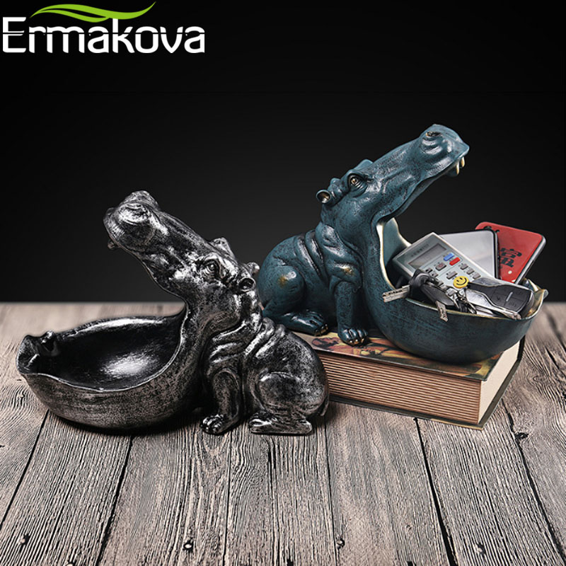 ERMAKOVA Hippo Statue Resin Hippopotamus Sculpture Figurine Key Candy Container Decoration Home Table Decoration Accessories