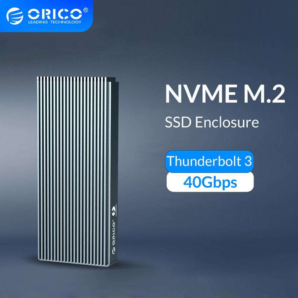 Корпус ORICO Thunderbolt 3 NVME M.2 SSD, поддержка 40 Гбит/с, 2 ТБ, алюминиевый USB C с Thunderbolt 3 C на C кабель для настольного компьютера ноутбука