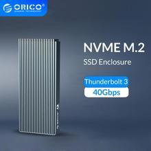 ORICO Thunderbolt 3 NVME M.2 boîtier SSD Suport 40Gbps 2 to USB C en aluminium avec câble Thunderbolt 3 C à C pour ordinateur de bureau