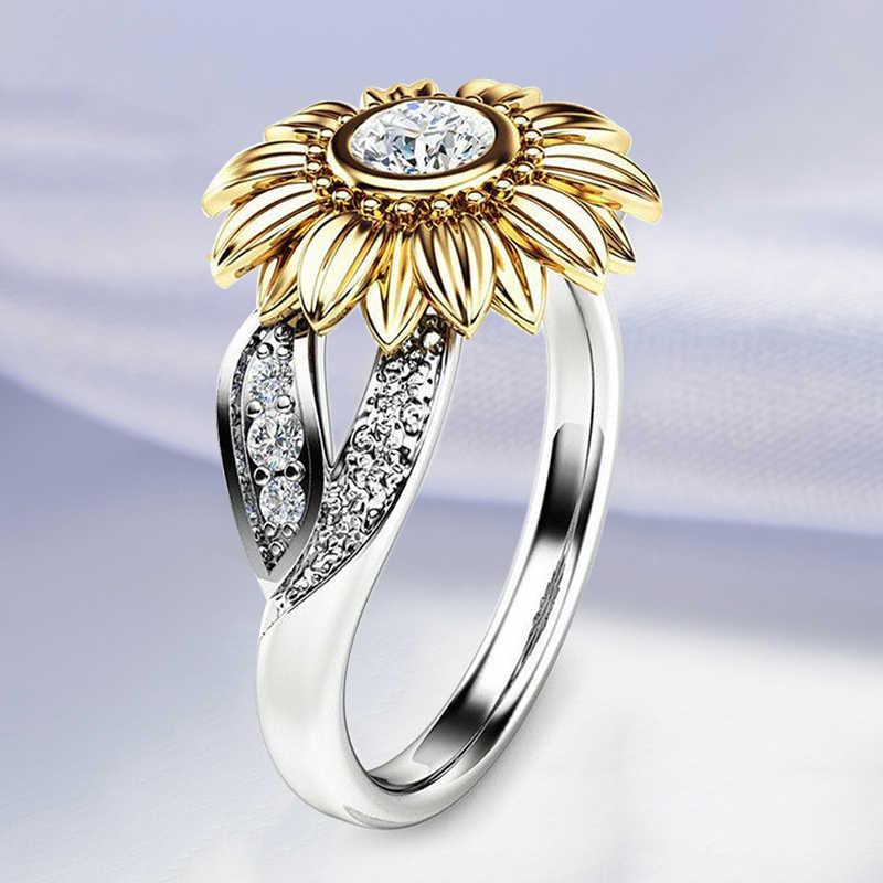 Модные ювелирные изделия, серебряное кольцо, милое кольцо с цветком подсолнуха из циркония, свадебные кольца с кристаллами для женщин, женские кольца Ri