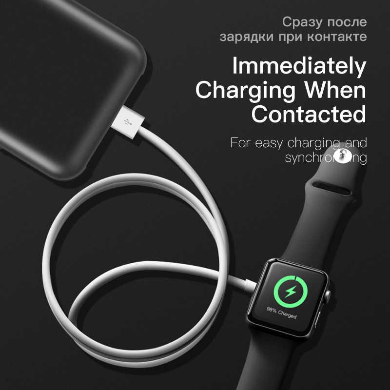BUSHUAR 2 en 1 cargador inalámbrico rápido para Apple Watch Series 1 2 3 4 Cable de carga magnética USB para iPhone X Xs MAX XR 8 plus