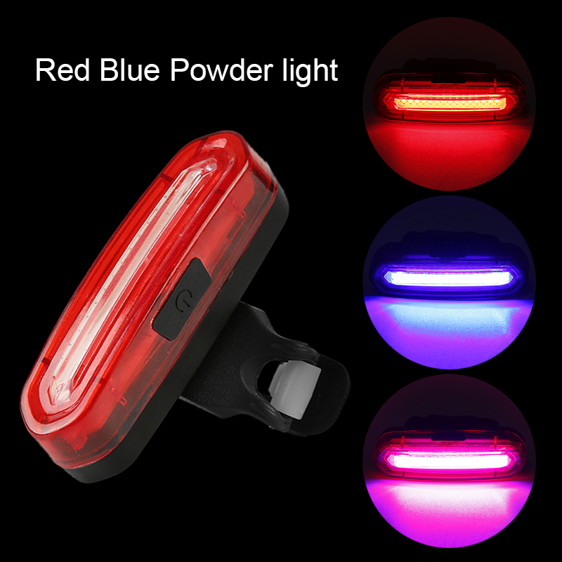 Three Colors Mountain Bike Light USB Charging Waterproof Safety Taillight Outdoor Night Riding Wolf Star Bicycle Warning Light