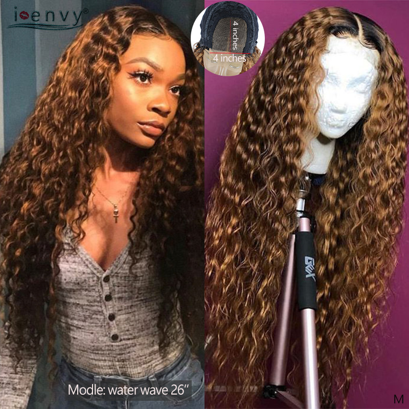 T1B 30 Blonde Water Wave Human Hair Wigs Ombre Blonde Lace Front Wigs Long Brazilian 4x4 Lace Closure Wig For Woman Non-remy