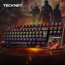 TeckNet Mechanical Gaming Keyboard 88 Keys Rainbow Backlit Switch USB Wired Gamer Kit UK Layout for Windows PC