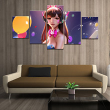 Home Decor Poster HD Pictures Prints Canvas 5 Piece Modular Bunny Girl DVA Overwatch Game Living Room Decorative Painting Framed(China)