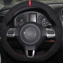 Capa de volante do carro diy antiderrapante camurça preta para volkswagen golf 6 gti mk6 vw polo gti scirocco r passat cc r-line 2010