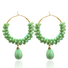 Earrings new ladies round handmade pendant earrings fashion multicolor crystal jewelry accessories direct sales 2019 ea