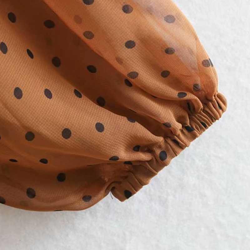 نقطة الطباعة المرأة المتتالية الكشكشة الشيفون ميدي فستان 2019 الخريف الترفيه سيدة ربطة القوس فيونكة كم طويل فساتين فضفاضة D3595