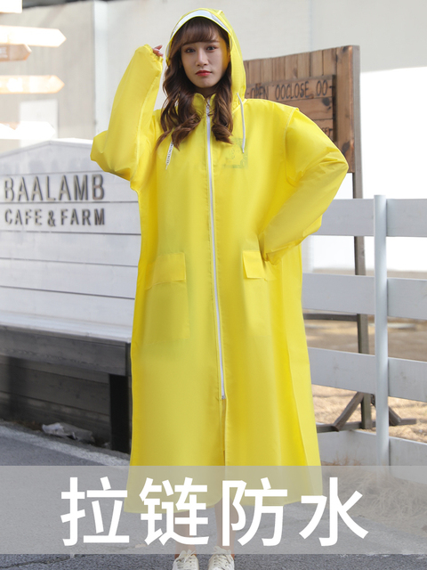 EVA Clear Raincoat Women Long Yellow Transparent Rain Coat Riding Electric Bicycle Adult Rain Poncho Plastic Coat Rainwear Gift 1