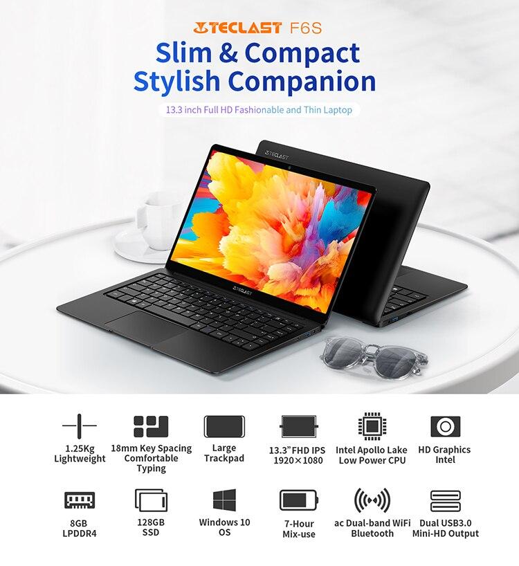 Teclast F6S 13.3'' 1.28 Kg 1920x1080 FHD IPS Light Laptop Intel Apollo Lake Windows 10 Notebook 8GB LPDDR4 128GB SSD-1