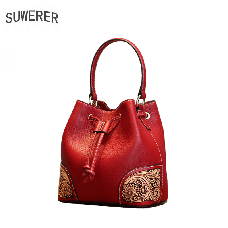 SUWERER Quality tote bag Women Genuine Leather handbags real cowhide Hand carved luxury handbag women bags designer famous brand