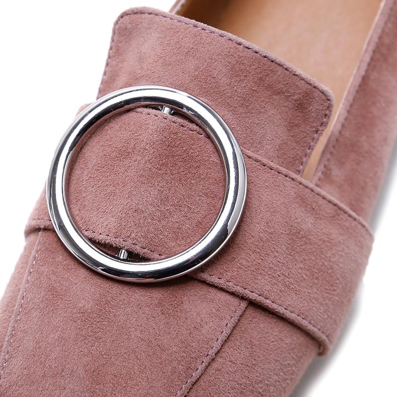 Femmes chaussures plates en cuir de vache véritable nouveau bout carré élégant dames C182 mode femme boucle noir blanc métal décoration chaussures - 6