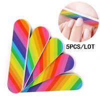5 pçs/lote Mini Rainbow Prego Remover Polonês Gel Acrílico Nail Arquivos Lustrando Bloco de Lixamento do Arquivo para Manicure Pedicure Ferramentas Acessório
