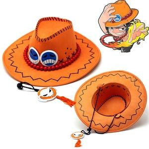 Cosplay d ace hat anime uma peça portgas vulcan ace cowboy chapéu para adultos piratas bonés com ossos crânio brinquedos lembranças