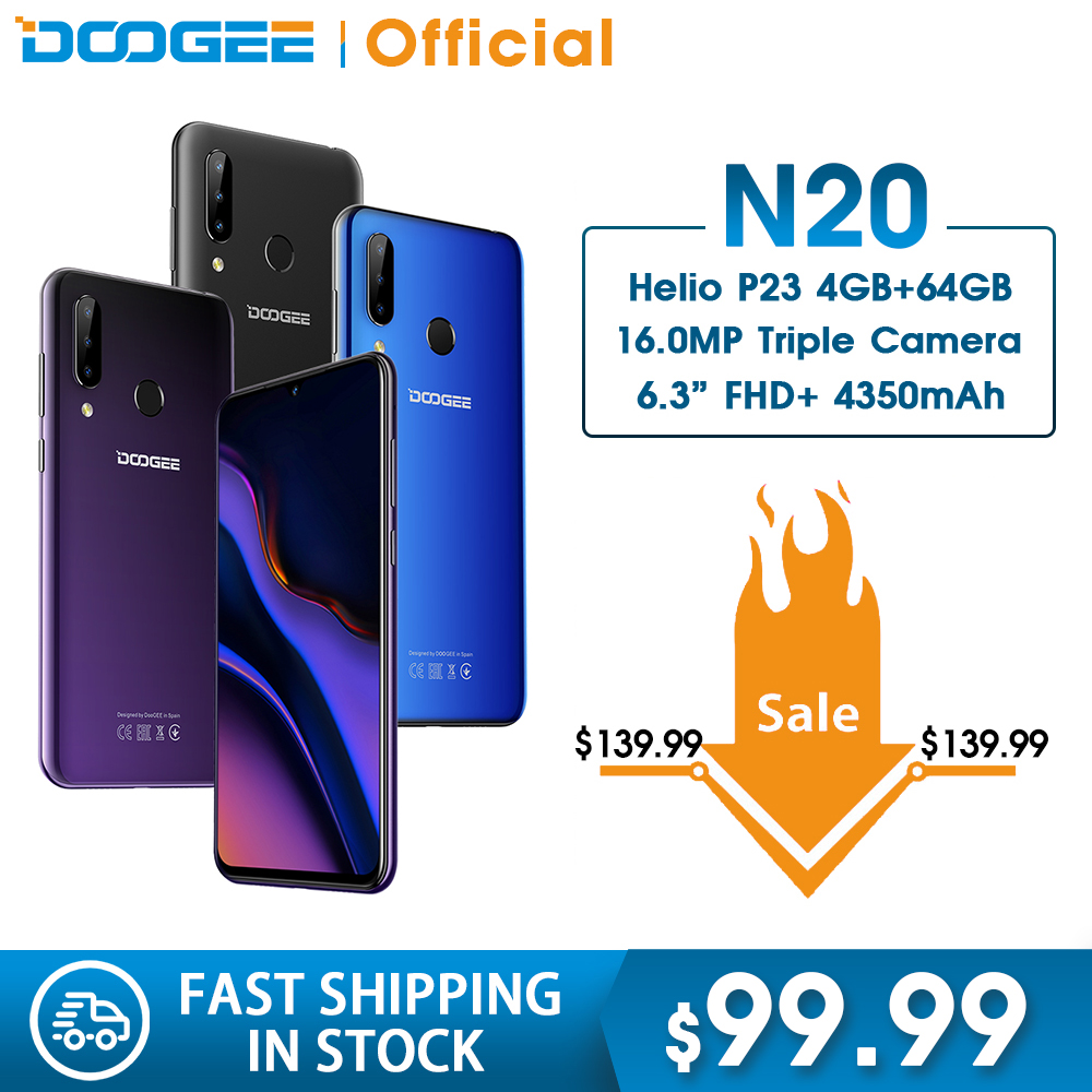 DOOGEE N20 64GB 4GB MT6763 Octa Core Mobilephone Fingerprint 6.3inch FHD+ Display 16MP Triple Back Camera 4350mAh Cellphone LTE
