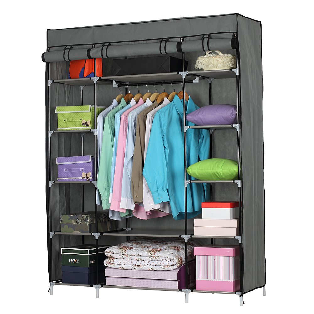 Non-woven Fabric Wardrobe Portable Closet Clothes Storage Clothing Organizer With 5-Layer 12-Compartmen(133x46x170cm) - US Stock