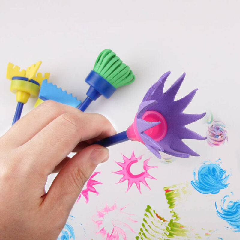 Hot 4Pcs/lot Sponge Painting Brush Flower Stamp Kids DIY Graffiti Drawing Toys
