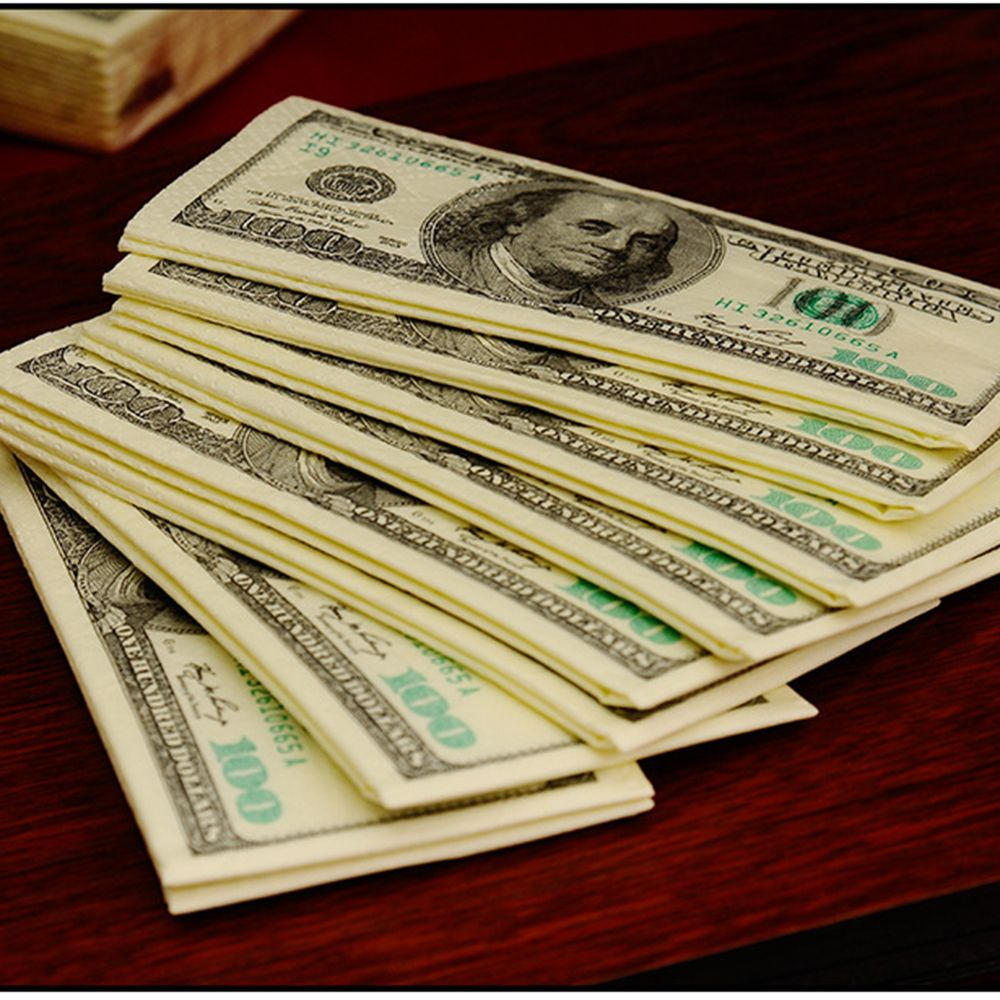 10PCS 100$ Dollars Napkin US Dollar Bill Money Paper Towel Party Tricky Gift Disposable Napkins Wedding Party Decoration