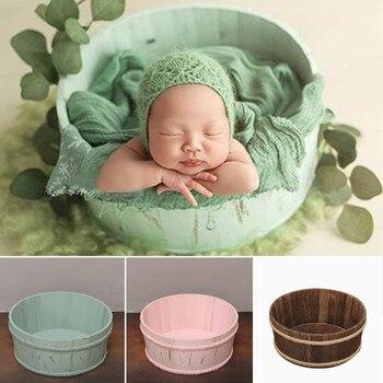 3 colores recién nacido madera Props posando cestas para fotografía Props bebé fotografía bebé posando disparar Vintage recién nacido Prop