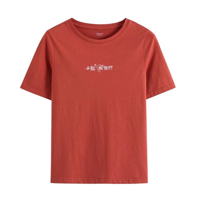 INMAN Style rétro 2020 été nouveauté pur coton lettres chinoises brodé à manches courtes T-shirt