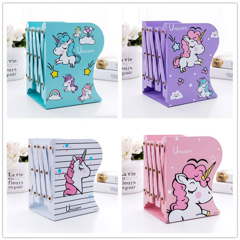 New Arrived  Christmas Birthday Party Holiday Gift For Children Cute Unicorn Telescopic Metal Bookshelf PAD52