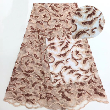 7 colors  high quality rose gold sequins lace fabric fashion African French net lace fabric for attractive party dress CFL062