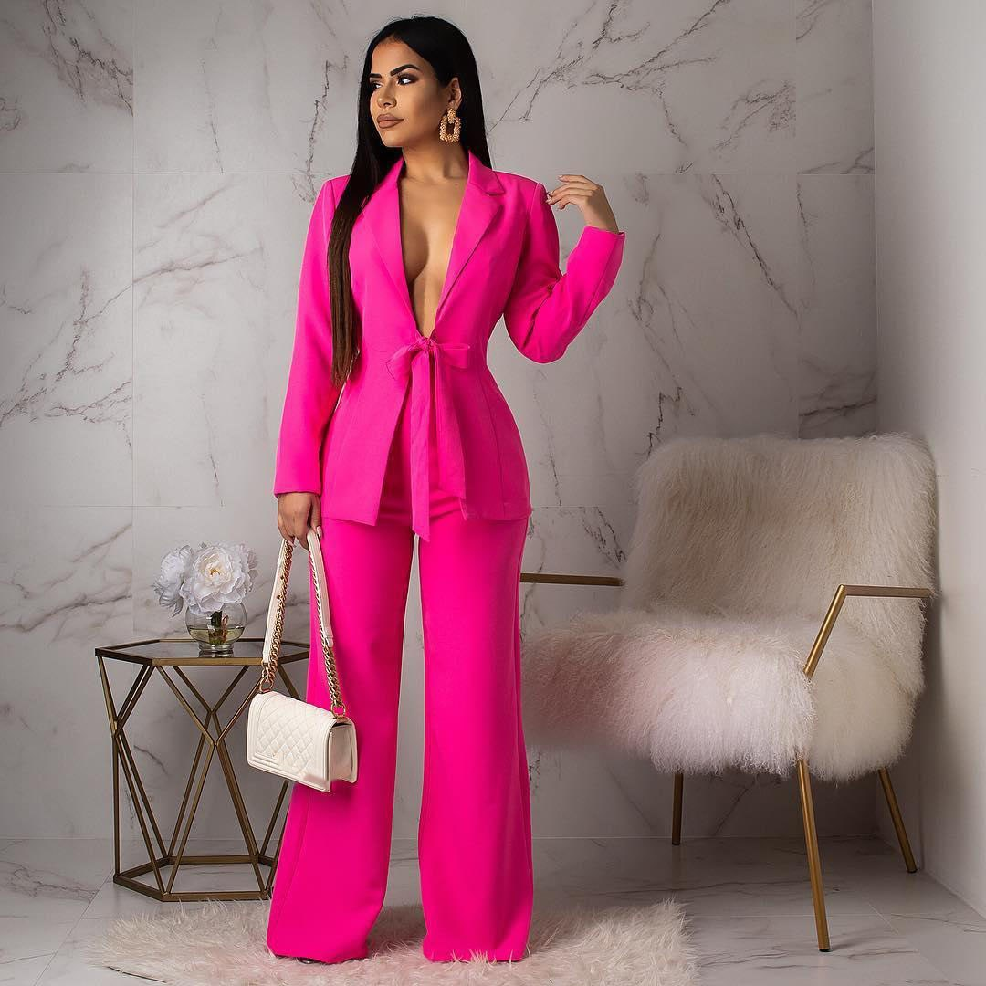 Women Sexy Deep V-Neck Long Sleeve Blazer and Pants Two Pcs Sets Elegant Solid Color Formal Suits