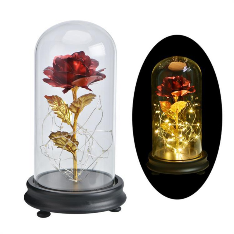 Beauty And The Beast Rose In Glass Gold-plated Red Rose With LED Light In Glass Dome For Wedding Party For Valentine's Gifts