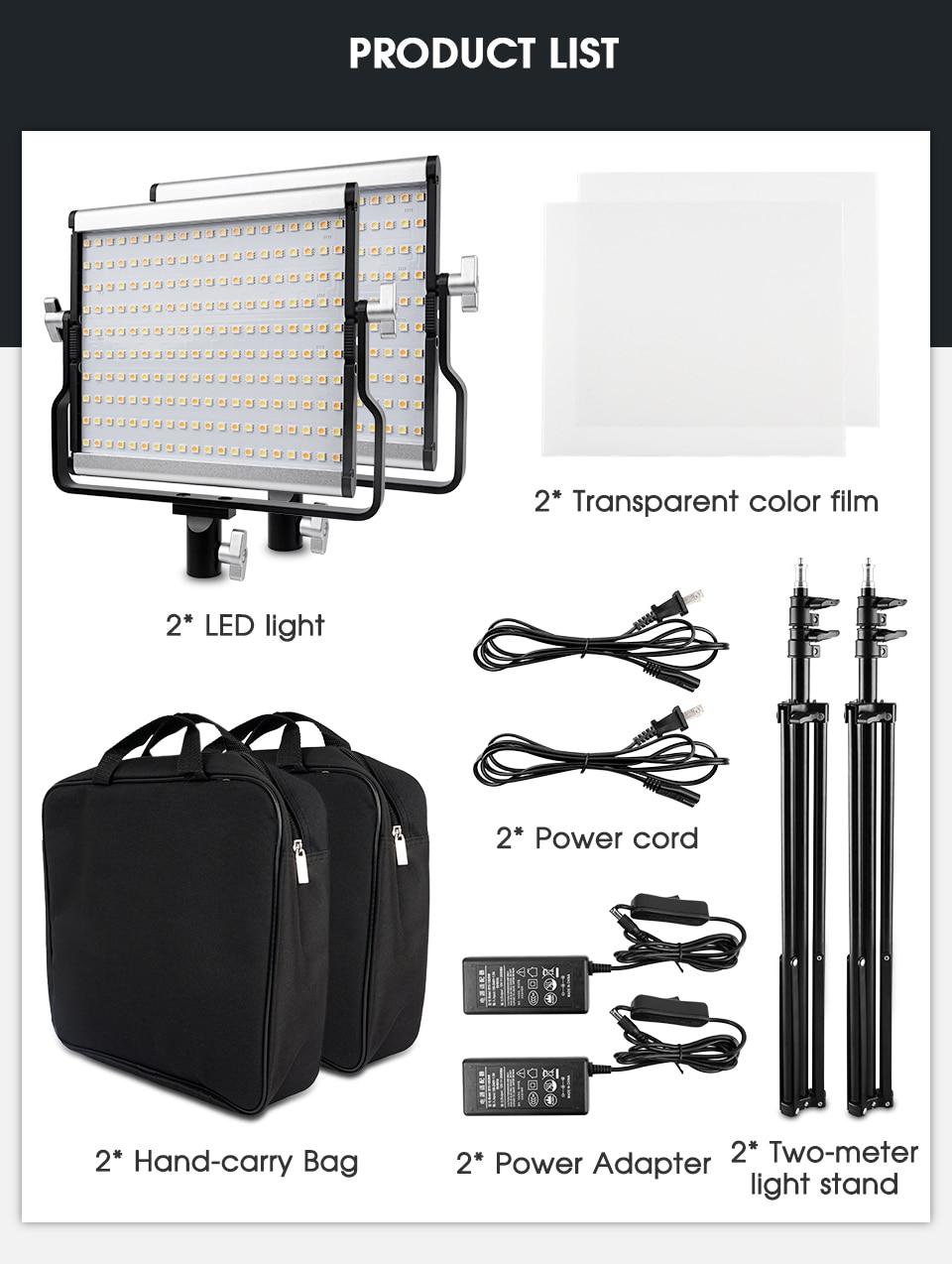 H47471bb20bc745d6b39bd4fd91d182ffS Travor Dimmable Bi-color 2set LED Video Light Kit with U Bracket 3200K-5600K CRI96 and Bag for Studio Photography Video Shooting