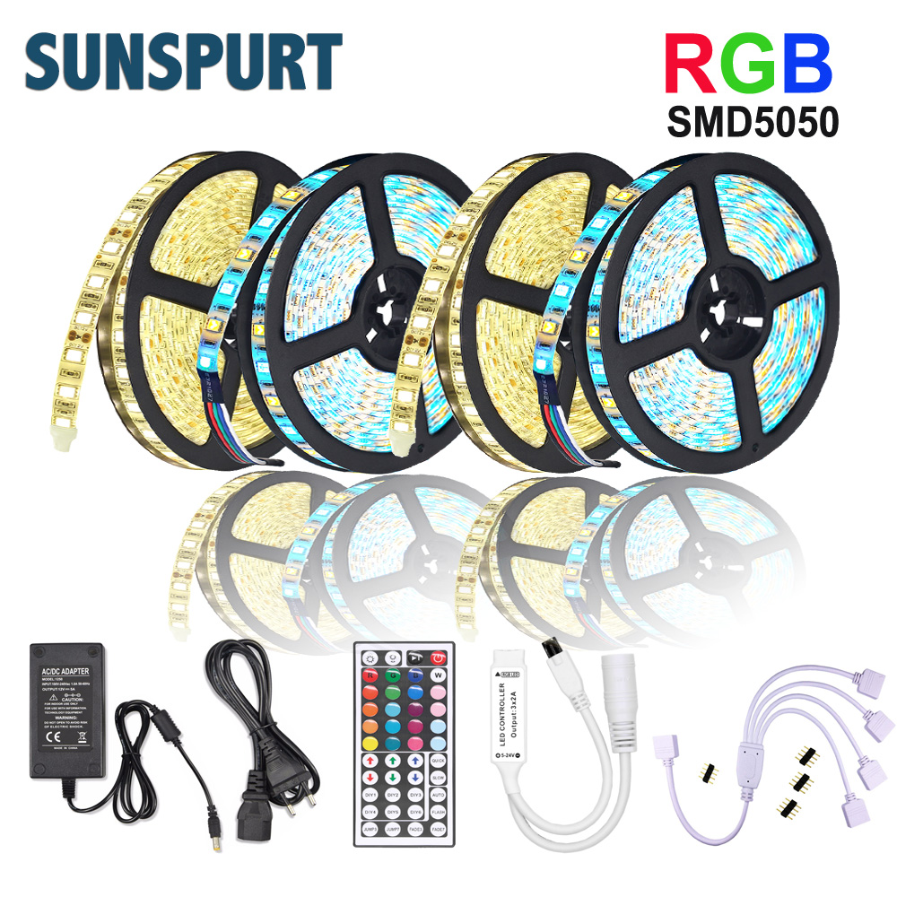 5M 10M 15M 20M Led Light Strip RGB 5050 SMD 2835 Flexible Tape Diode DC12V+IR Remote Control +Adapter For Home Kitchen Christmas