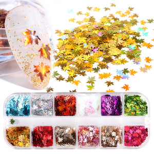 12 Grid Holographic Nail Glitter Flakes Sequin Shinny Maple Leaf Nail Art Spangles Paillette Decoration DIY Polish Tools LAFY-2