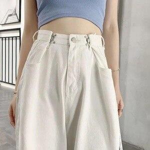 2021 весенние белые размера плюс с высокой талией, джинсы для женщин Уличная Брюки с широкими штанинами для женщин модные штаны полной Длина с...