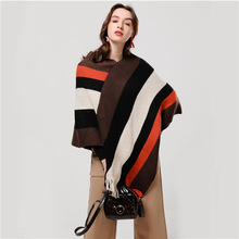 Women Winter Scarf Wool Knitted Poncho Capes Warm Cashmere Pashmina Scarves Striped Coats Shawls Warps