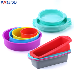 Silicone Layered Cake Mold Round Shape Rectangular Silicone Bread Pan Toast Bread Mold Cake Tray Mould Non-stick Baking Tools