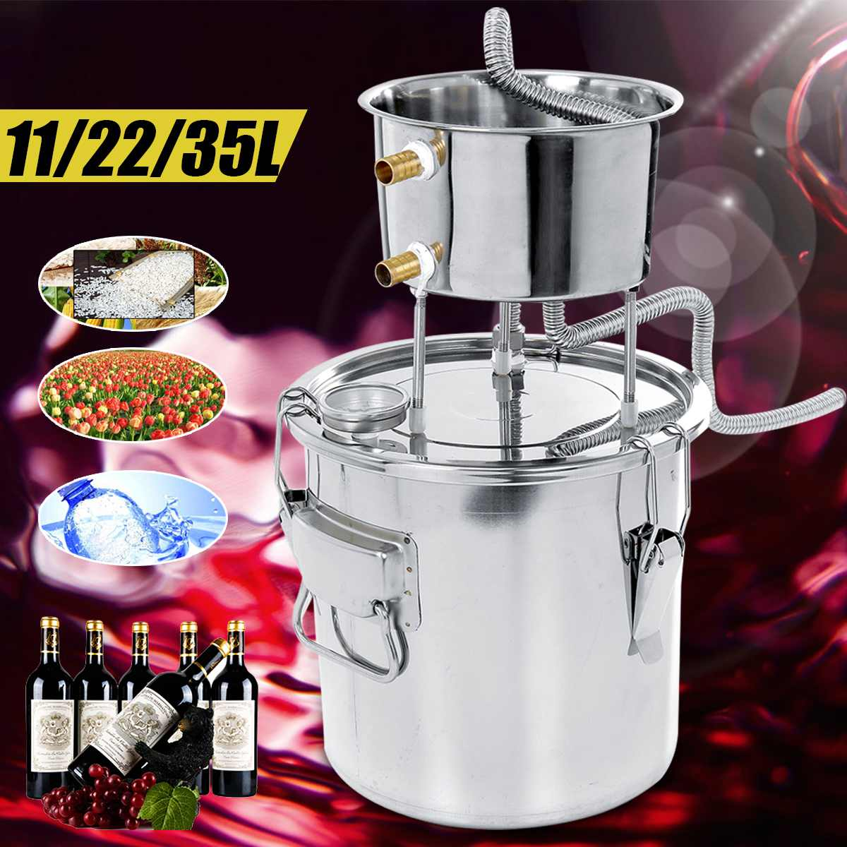 DIY Home 11/22/35L Alcohol Distiller Stainless Alcohol Brew Distiller Equipment Copper DIY Water Wine Essential Oil Brewing Kit