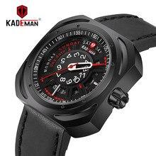 KADEMAN Creative Military Sport Men Watch Luxury 2019 Top Brand Waterproof Calendar Leather Male Clock Quartz Wristwatch Relogio