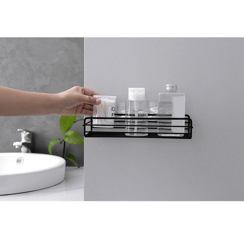HOT Iron Kitchen Bathroom Shower Shelf Storage Suction Basket Caddy Rack LSF99