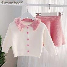 Humor Bear 2019 NEW Autumn Winter Girls Sweater Set Lapel Children Outfits Shirt+Skirt 2PCS Suit Kids Girls Knitted Clothes