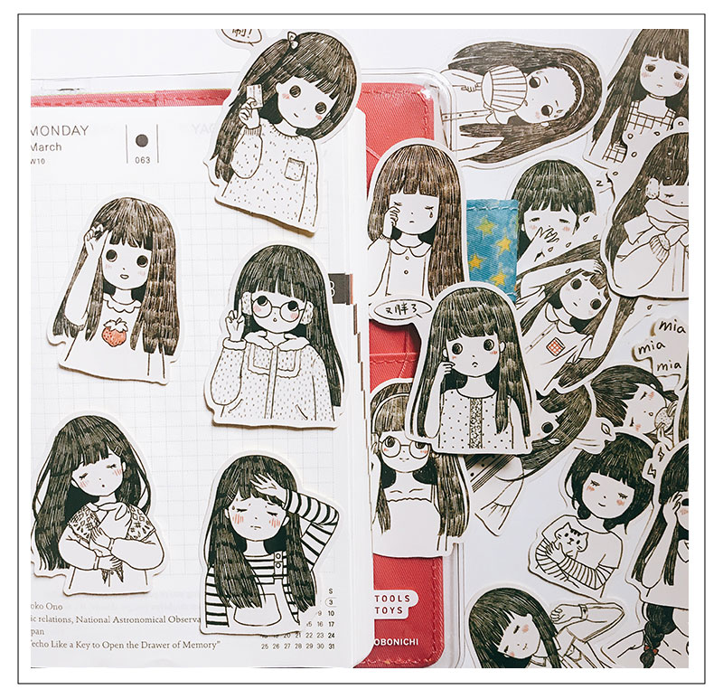 20pcsCute Illustration Cute Girl Stickers Crafts And Scrapbooking Stickers Book Student Label Decorative Sticker DIY Stationery